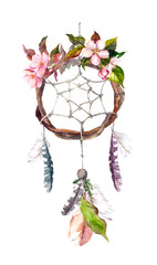 Dream catcher with feathers and flowers. Watercolor vintage boho style