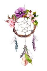Dream catcher - feathers, flowers. Watercolor in boho style