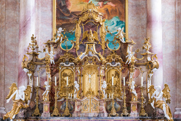 Altar of St. Andreas Church in Nesselwang (Bavaria, Germany)
