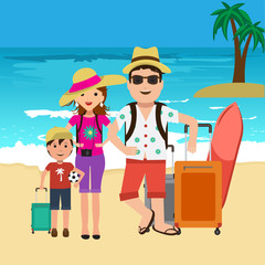 Vector illustration of happy family going on surf vacation. Beach and palm trees travel bags.