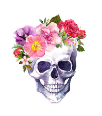 Human skull - flowers in boho style. Watercolor