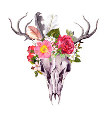 Deer animal skull - flowers, feathers. Watercolor in vintage style