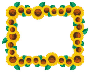 Horizontal frame with sunflowers. Vector clip art.
