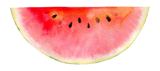watercolor hand painted slice of watermelon