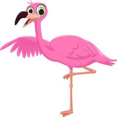 cute flamingo cartoon waving