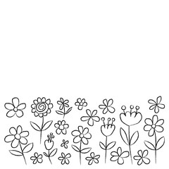 Vector set of doodle flowers