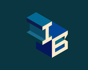 IB isometric 3D letter logo. three-dimensional stock vector alphabet font typography design.