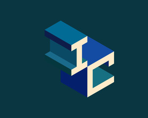 IC isometric 3D letter logo. three-dimensional stock vector alphabet font typography design.
