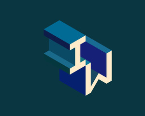 IW isometric 3D letter logo. three-dimensional stock vector alphabet font typography design.