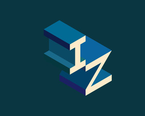 IZ isometric 3D letter logo. three-dimensional stock vector alphabet font typography design.