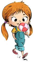 niña comiendo un caramelo de piruleta
