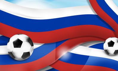 russian banner soccer football sports 3d illustration balls