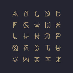 Abstract Font. Alphabet Letters.