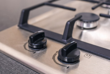 Closeup of Modern Double Burners Split Gas Oven.