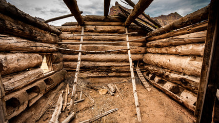 Old broken wood house in steppe