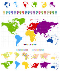 Fototapete - World Map and colorful continents with large navigation icon set