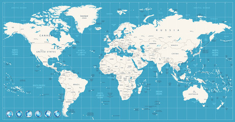 Wall Mural - World map navy blue colors and glossy style globes