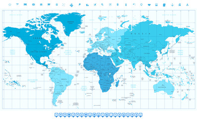 World map continents in colors of blue america in center and nav category gumiabroncs Image collections