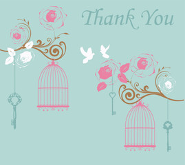 Poster Birds in cages vector illustration of thank you card with birds and cages