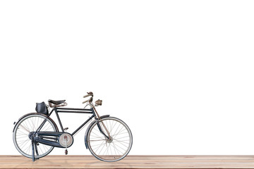 Old  bicycle  on wood , white background.
