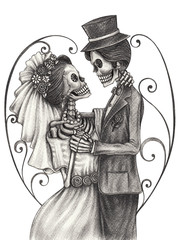 Art Skull Day of the dead.Art design skull wedding in love action smiley face day of the dead festival hand pencil drawing on paper.