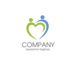 people care logo, charity , familly logo, human  love and hand symbol logo template
