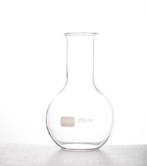 Chemistry flask Chemical laboraory glassware with white backgrou