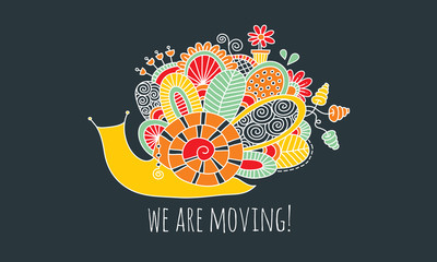 We Are Moving Snail Hand Drawn Doodle Vector on Dark Background