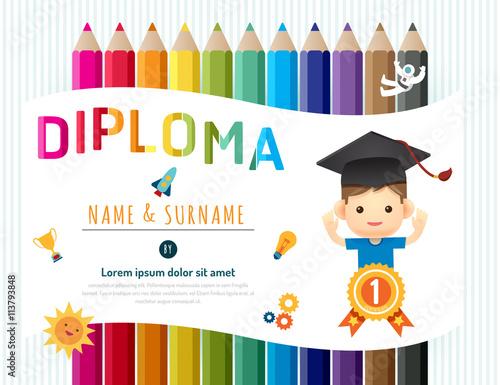 certificate kids diploma kindergarten template layout pencil