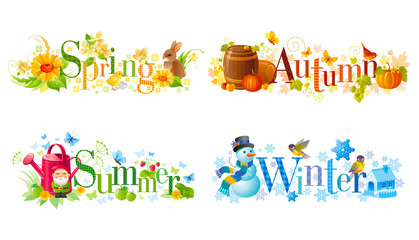 Four seasons calendar set. Spring, Summer, Autumn, Winter text banners with text design and seasonal icons.