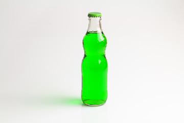 bottle green drink  isolate background.