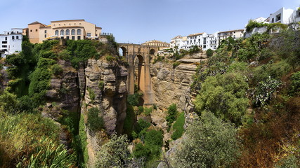 Ronda, Spain at the Puente Nuevo Bridge over the Tajo Gorge - panorama