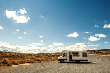 Motorhome or campervan parking by the roadside in North Island of New Zealand