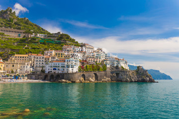 Beautiful town of Amalfi, nice contrasty sky, Amalfi coast, Campania, Italy