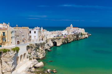 Beautiful old town of Vieste, Gargano peninsula, Apulia region, South of Italy