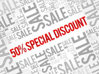 50% Special Discount sale words cloud, business concept background