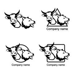 set of head of a bull and bear logo