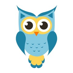 Cartoon blue owl icon
