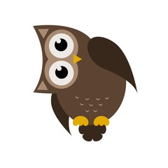 Cartoon brown owl icon