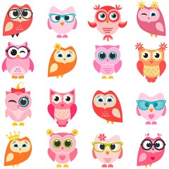 set of red and pink owls