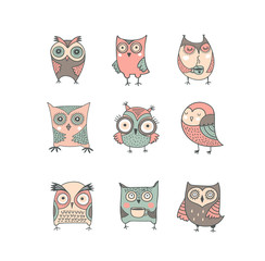Cute, hand drawn owl vector watercolor illustrations