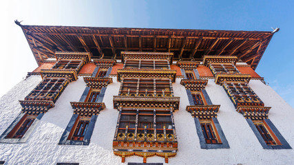 Wall Mural - :the main tower for prayer with asian, Bhutan