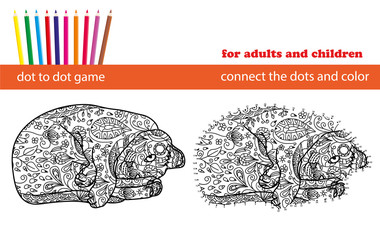 Dot to dot game. Coloring and dot to dot educational game for ad