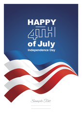 Happy 4th July blue red ribbon background vector