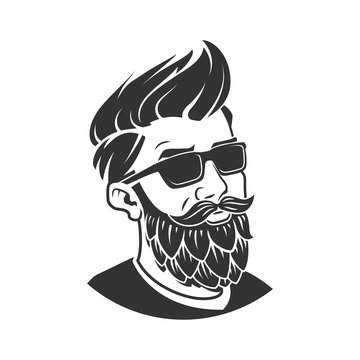 Man with beard in the form of hop vector emblem