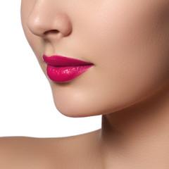 Sexy Lips. Beauty pink lips makeup detail. Beautiful make-up