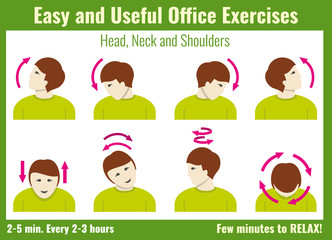 Office syndrome infographic. Exercise for office work infographic, info about stretching exercise. Vector illustration health concept infographic