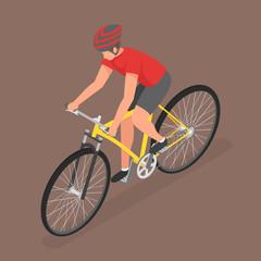 Isometric man ride on bicycle.