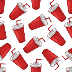 Seamless pattern cola cup scetch and color