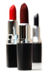 Set of color lipsticks. Red lipstick, black lipstick, wine lipstick